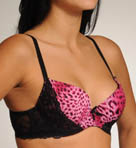 Pink Animal With Black Lace Underwire Bra