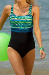 Reebok Crazy Dots Square Neck Tank One Piece Swimsuit 850505