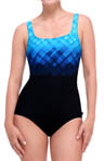 Underwater Plaid Square Neck One Piece Swimsuit