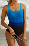 Reebok Sonic Wave Square Neck Tank One Piece Swimsuit 850525