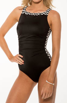 Black Diamond Shape Perfector One Piece Swimsuit