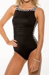 Reebok Black Diamond Shape Perfector One Piece Swimsuit 850605