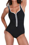 Zig Zag Contrast Trim One Piece Swimsuit