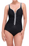 Diamond Dots Zip Front One Piece Swimsuit