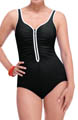 Zig Zag Contrast Trim One Piece Swimsuit Image