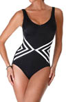 Reebok Stripe Tease V Neck One Piece Swimsuit 864532