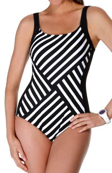 Reebok Synchronize Stripe One Piece Swimsuit 864590