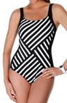 Synchronize Stripe One Piece Swimsuit Image