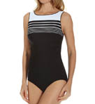 Racing Lines High Neck One Piece Swimsuit Image