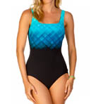 Underwater Plaid Square Neck One Piece Swimsuit Image