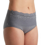 Seamless Brief Panty with Lace Overlay