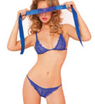 3Piece Floral Lace Bra And Panty Set With Eye Mask Image