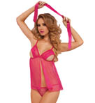 Seven 'til Midnight 3 Piece Stretch Lace And Mesh Open Cup Babydoll 9900P