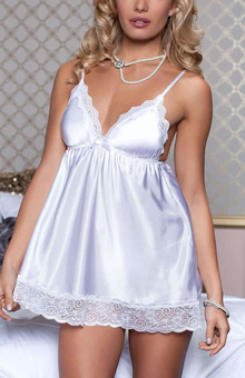 Seven 'til Midnight Enchanting Satin Babydoll STM9721