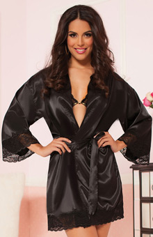Seven 'til Midnight Enchanting Satin Lace Trim Robe