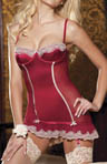 Stretch Satin And Lace Chemise with G-string