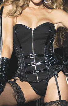 Stretch Twill & Faux Leather Corset with G-string