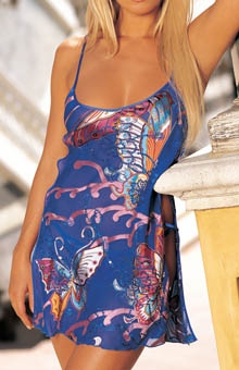 Colorful Butterflies Burnout Silk Chemise w/ Thong