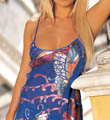 Shirley of Hollywood Colorful Butterflies Burnout Silk Chemise w/ Thong 30107