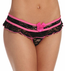 Shirley of Hollywood Stretch Lace Open Front Crotchless Panty 52