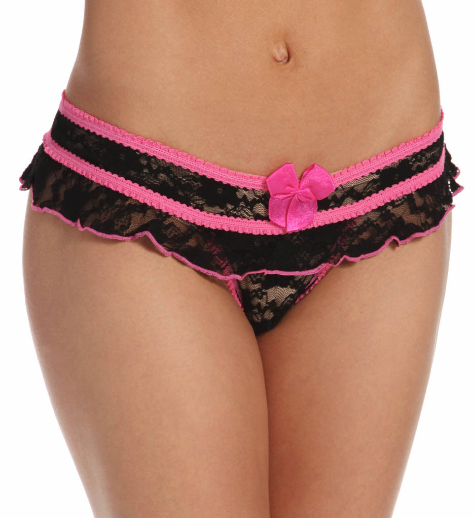 Shirley of Hollywood 52 Stretch Lace Open Front Crotchless Panty