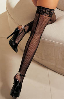 Shirley of Hollywood Fishnet, Back Seam, Stay Up Thigh Stockings 90013