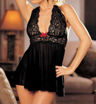 Shirley of Hollywood Stretch Lace Halter Babydoll With Matching Thong 96164