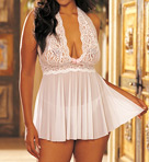 Stretch Lace Halter Babydoll With Matching Thong