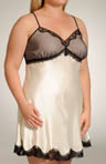 Plus Size Charmeuse And Net Overlay Chemise