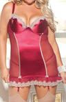 Shirley of Hollywood Plus Size Satin Scalloped Lace Corset and G-string X20505