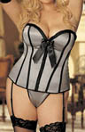 Plus Size Pleated Ribbon and Satin Corset