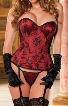 Plus Size Lace Overlay Satin Corset