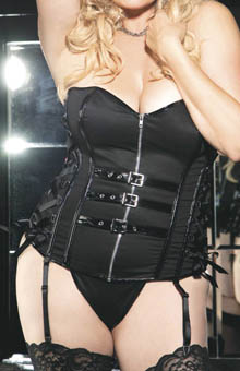 Plus Stretch Twill Faux Leather Strapless Corset