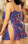 Plus Size Butterflies Burnout Silk Chemise & Thong