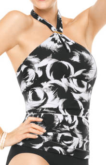 Decadent Decollete Halter Tankini Swim Top