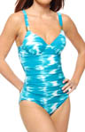 Riveting Ruched Cup Sized One Piece Swimsuit