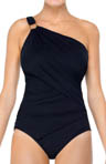 Whittle Waistline One Shoulder One-Piece Swimsuit