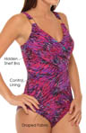 Whittle Waistline Draped One Piece Swimsuit