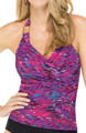 Whittle Waistline Draped Tankini Swim Top Image