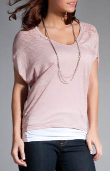 Cocoon Burn-Out Jersey and Lace Top