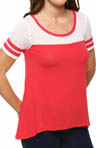 Splendid Drapey Lux Jersey Hi Low Stripe Sleeve Tee 527651