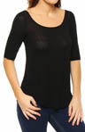 Splendid Drapey Lux Elbow Sleeve Scoop Front and Back Tee 527719