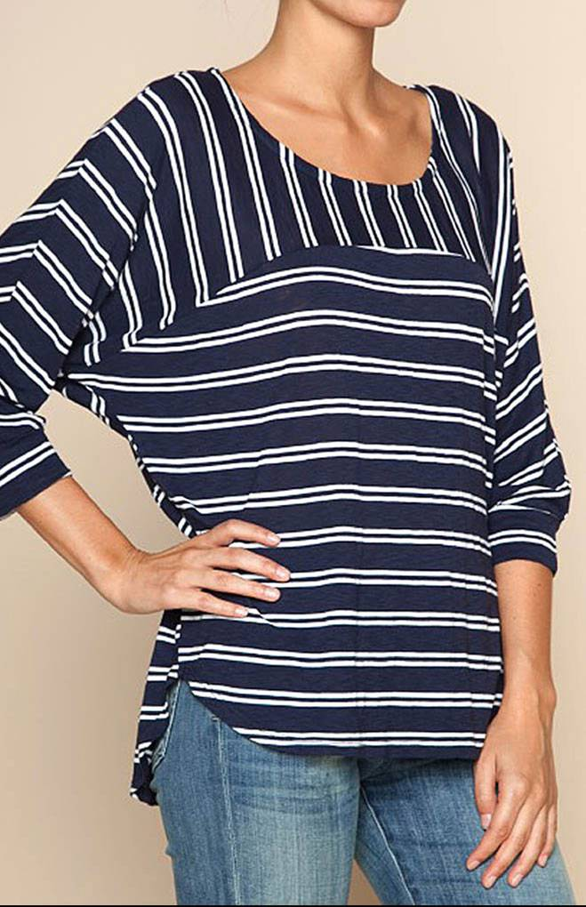 splendid double french stripe boat neck 3 4 sleeve tee