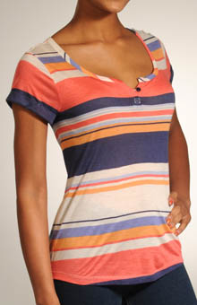 Canyon Stripe Cap Sleeve Scoop Henley Top