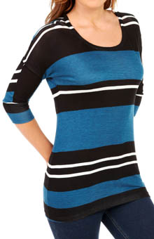 Splendid Tribeca Stripe Scoop Neck 3/4 Sleeve Tee S77939