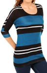 Tribeca Stripe Scoop Neck 3/4 Sleeve Tee