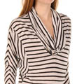 Black Venice Stripe Cowl Neck Image