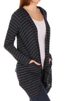 Charcoal Stripe Thermal Hooded Jacket