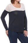 Splendid Drapey Lux Jersey 2 Tone Long Sleeve Tee ST52735