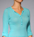 Splendid Vintage Whisper Henley 3/4 Rolled Sleeve Top ST5800